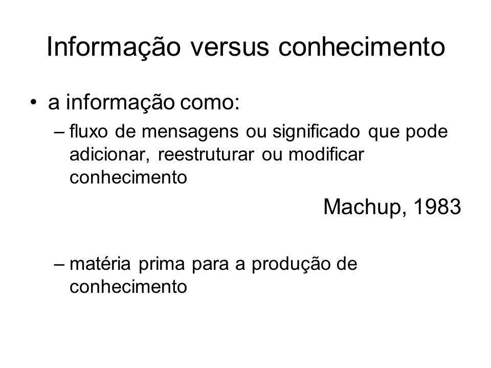 Informação versus conhecimento a informação como: –fluxo de mensagens ou significado que pode adicionar, reestruturar ou modificar conhecimento Machup