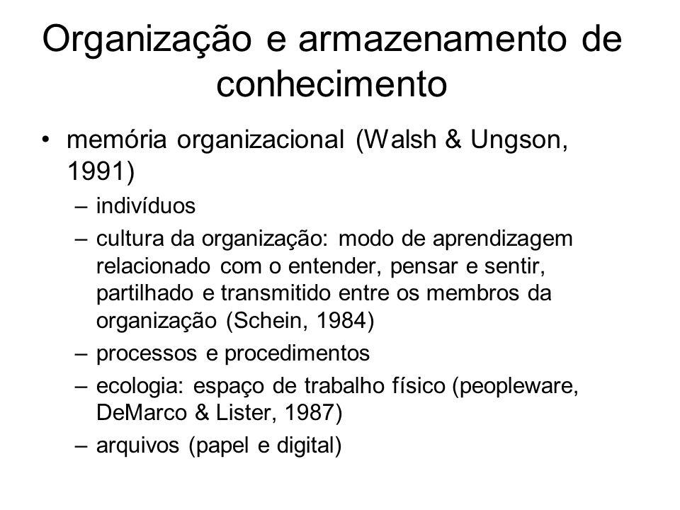 Organização e armazenamento de conhecimento memória organizacional (Walsh & Ungson, 1991) –indivíduos –cultura da organização: modo de aprendizagem re