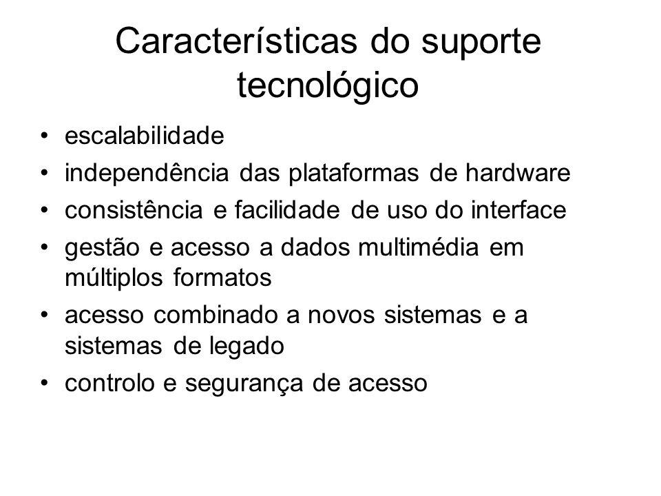 Características do suporte tecnológico escalabilidade independência das plataformas de hardware consistência e facilidade de uso do interface gestão e