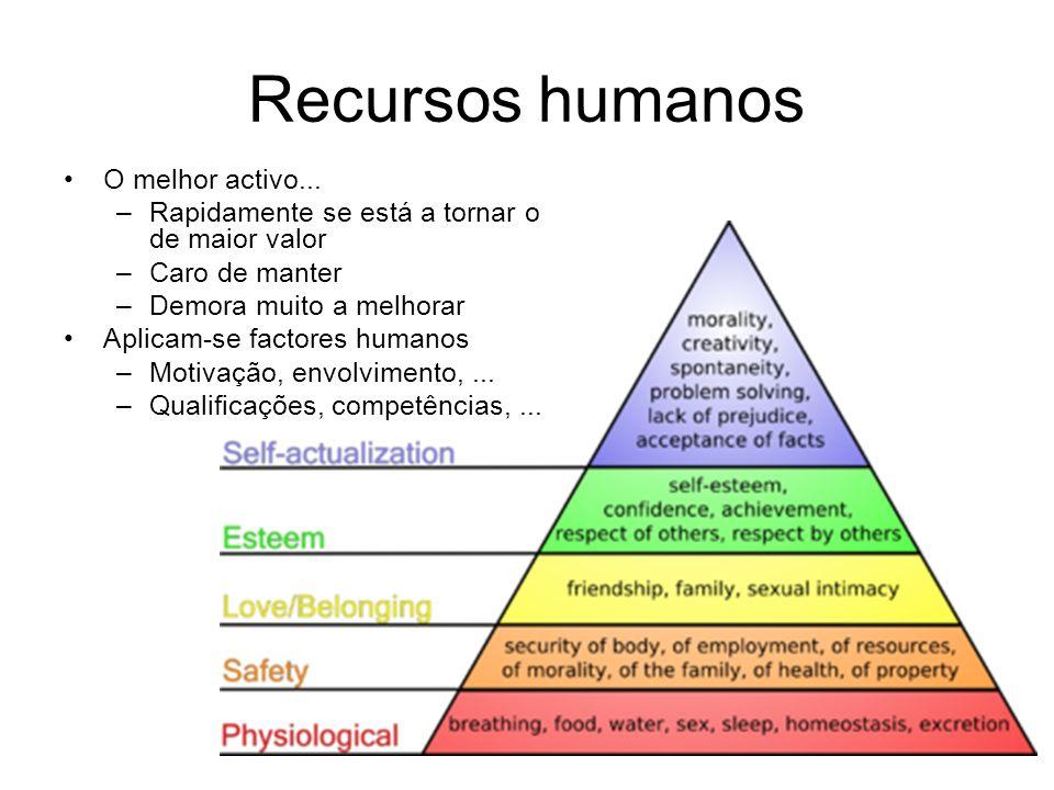 Recursos humanos O melhor activo... –Rapidamente se está a tornar o de maior valor –Caro de manter –Demora muito a melhorar Aplicam-se factores humano