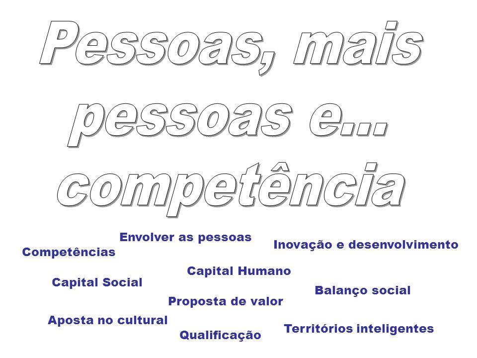 Capital Social Capital Humano Proposta de valor Balanço social Territórios inteligentes Aposta no cultural Envolver as pessoas Inovação e desenvolvime