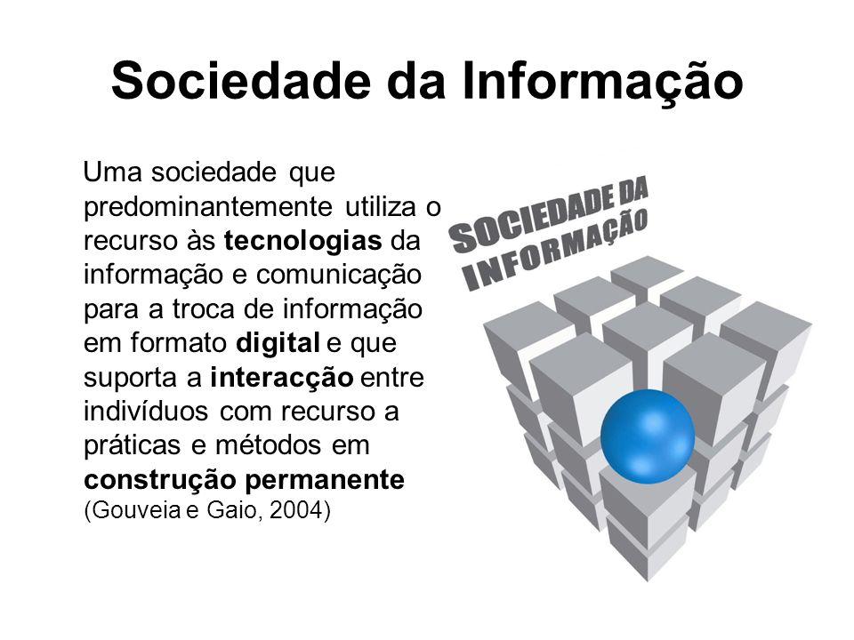 Sociedade da Informação Uma sociedade que predominantemente utiliza o recurso às tecnologias da informação e comunicação para a troca de informação em