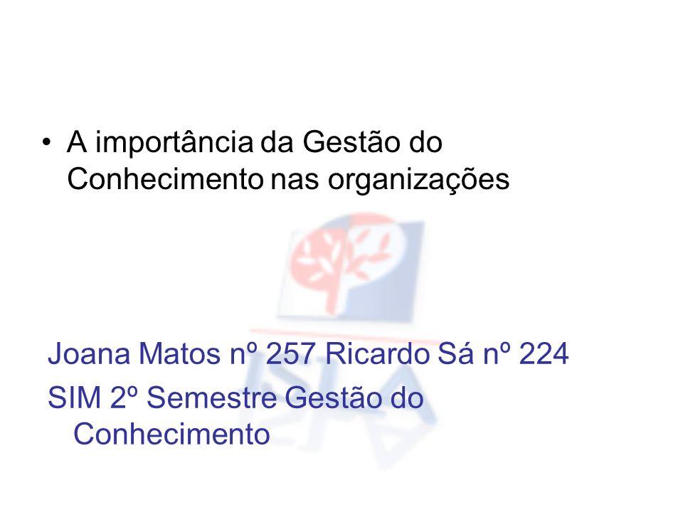 Joana Matos nº 257 Ricardo Sá nº 224 SIM 2º Semestre Gestão do Conhecimento A importância da Gestão do Conhecimento nas organizações