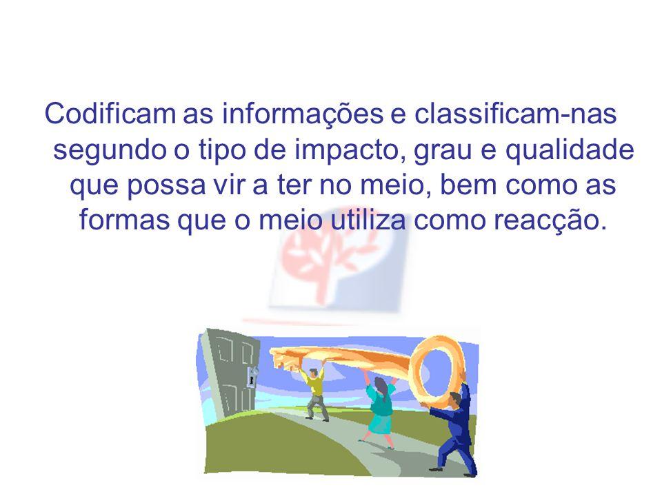 Codificam as informações e classificam-nas segundo o tipo de impacto, grau e qualidade que possa vir a ter no meio, bem como as formas que o meio util