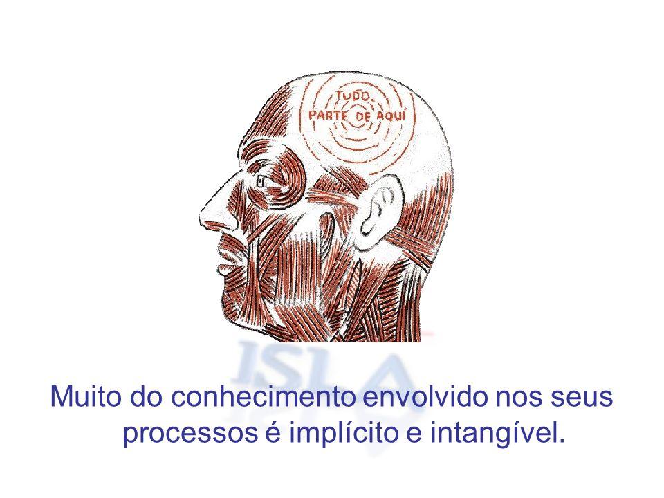 Muito do conhecimento envolvido nos seus processos é implícito e intangível.