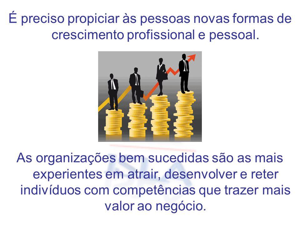 É preciso propiciar às pessoas novas formas de crescimento profissional e pessoal. As organizações bem sucedidas são as mais experientes em atrair, de