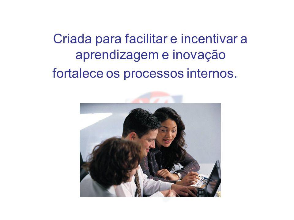 Criada para facilitar e incentivar a aprendizagem e inovação fortalece os processos internos.