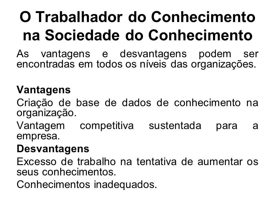 O Trabalhador do Conhecimento na Sociedade do Conhecimento As vantagens e desvantagens podem ser encontradas em todos os níveis das organizações. Vant