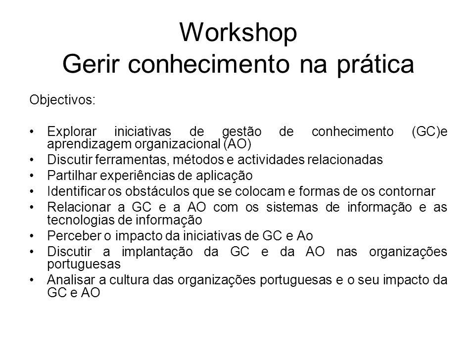 Workshop Gerir conhecimento na prática Objectivos: Explorar iniciativas de gestão de conhecimento (GC)e aprendizagem organizacional (AO) Discutir ferramentas, métodos e actividades relacionadas Partilhar experiências de aplicação Identificar os obstáculos que se colocam e formas de os contornar Relacionar a GC e a AO com os sistemas de informação e as tecnologias de informação Perceber o impacto da iniciativas de GC e Ao Discutir a implantação da GC e da AO nas organizações portuguesas Analisar a cultura das organizações portuguesas e o seu impacto da GC e AO
