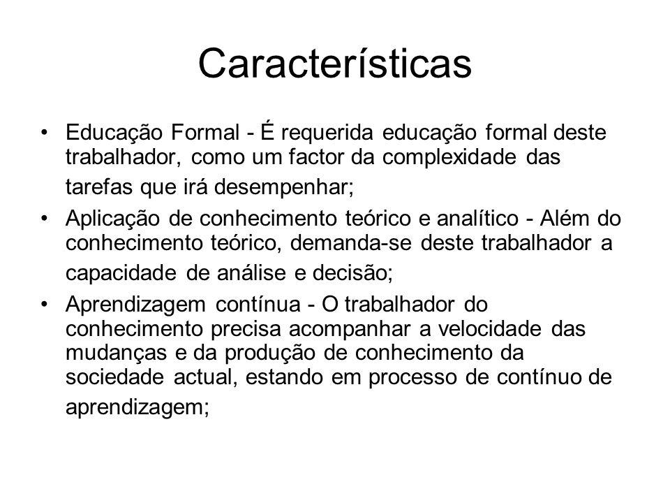 Características Educação Formal - É requerida educação formal deste trabalhador, como um factor da complexidade das tarefas que irá desempenhar; Aplic