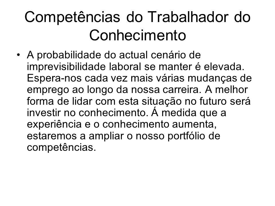 Competências do Trabalhador do Conhecimento A probabilidade do actual cenário de imprevisibilidade laboral se manter é elevada. Espera-nos cada vez ma