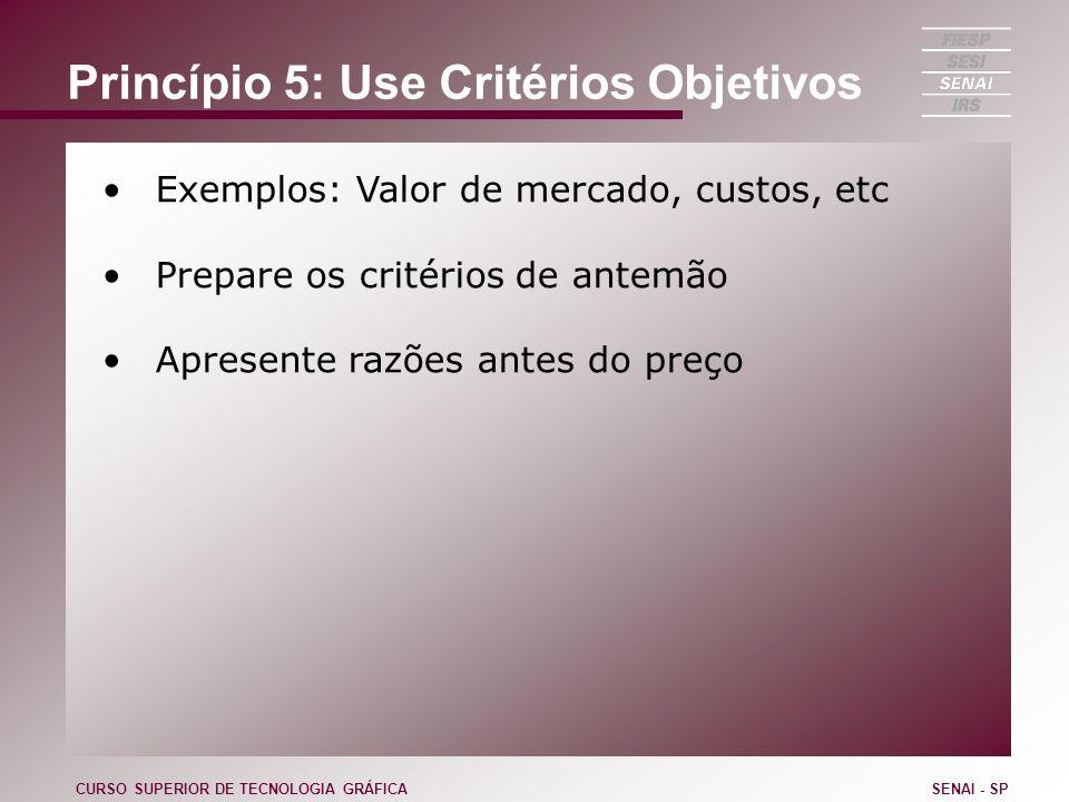Princípio 5: Use Critérios Objetivos Exemplos: Valor de mercado, custos, etc Prepare os critérios de antemão Apresente razões antes do preço CURSO SUP