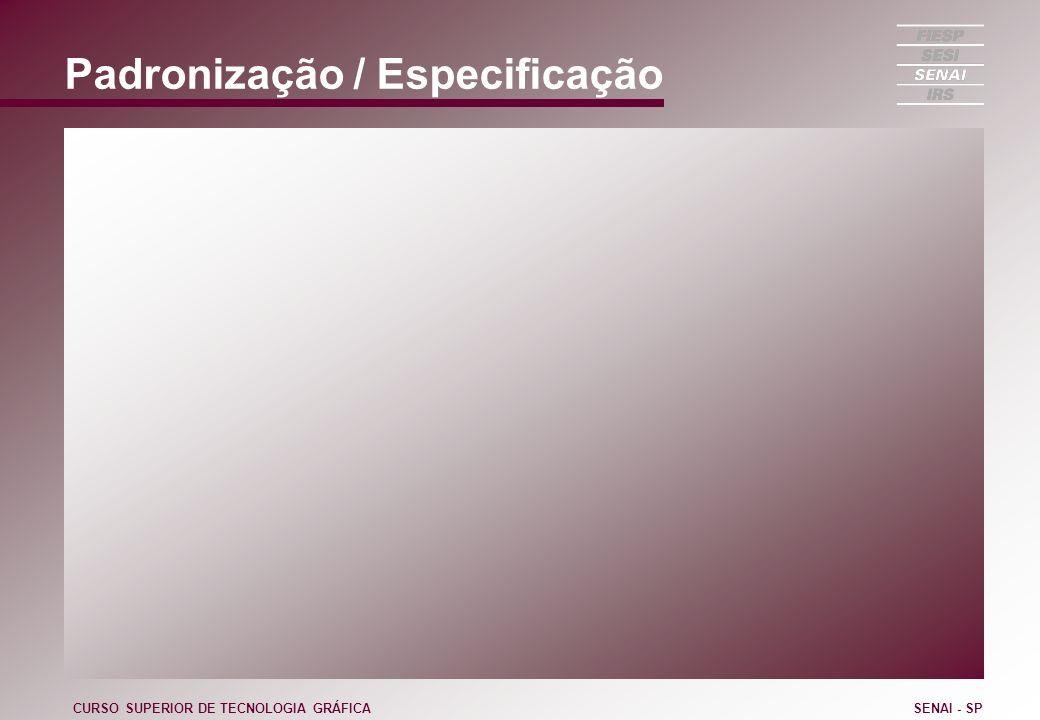 Padronização / Especificação CURSO SUPERIOR DE TECNOLOGIA GRÁFICASENAI - SP