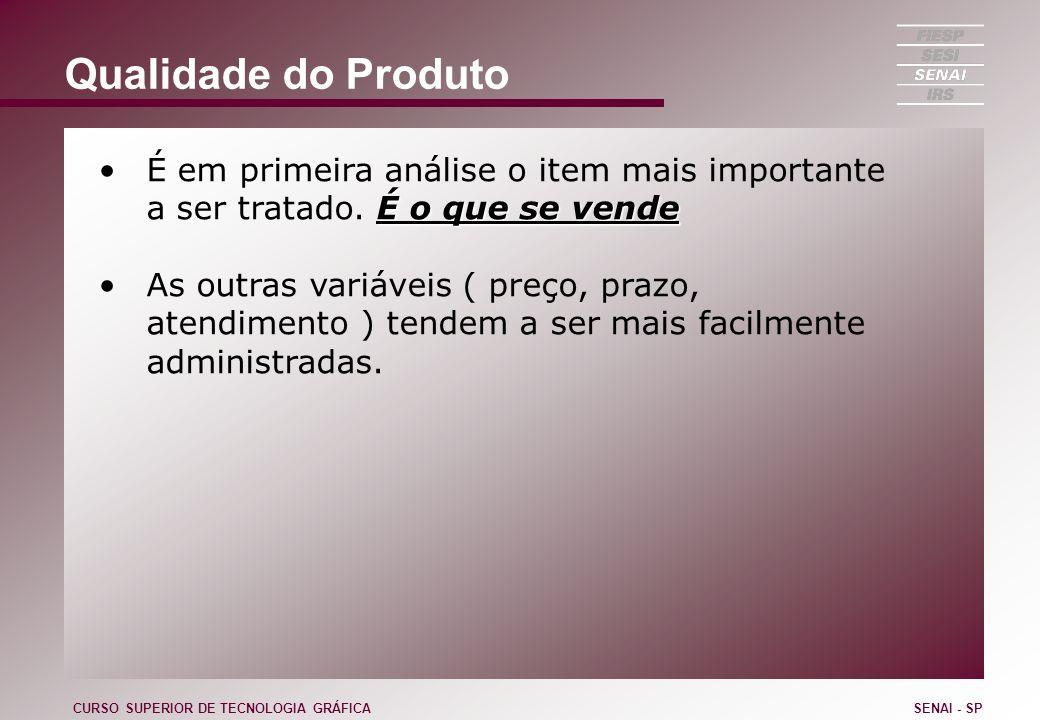 Qualidade do Produto É o que se vendeÉ em primeira análise o item mais importante a ser tratado. É o que se vende As outras variáveis ( preço, prazo,