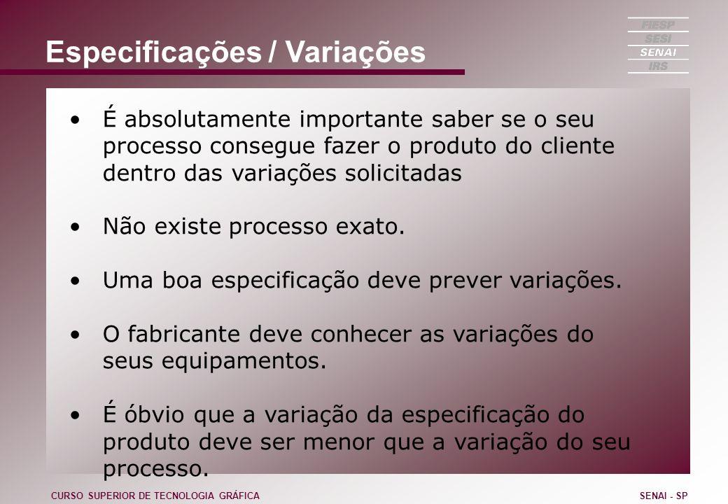 Especificações / Variações É absolutamente importante saber se o seu processo consegue fazer o produto do cliente dentro das variações solicitadas Não