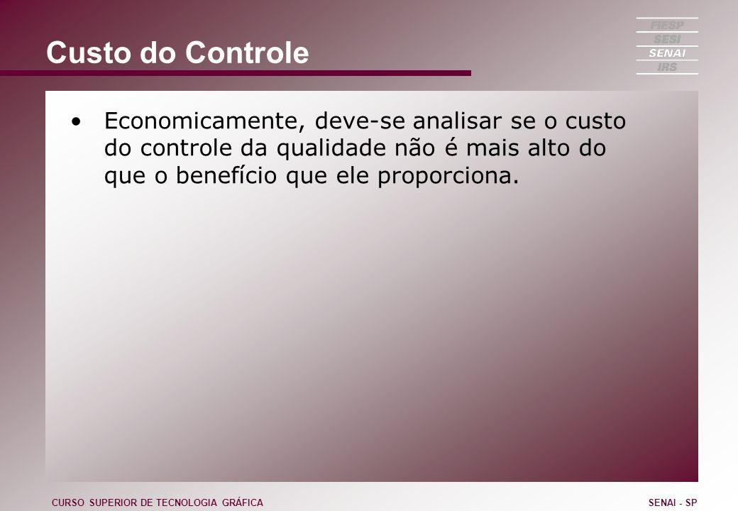 Custo do Controle Economicamente, deve-se analisar se o custo do controle da qualidade não é mais alto do que o benefício que ele proporciona. CURSO S