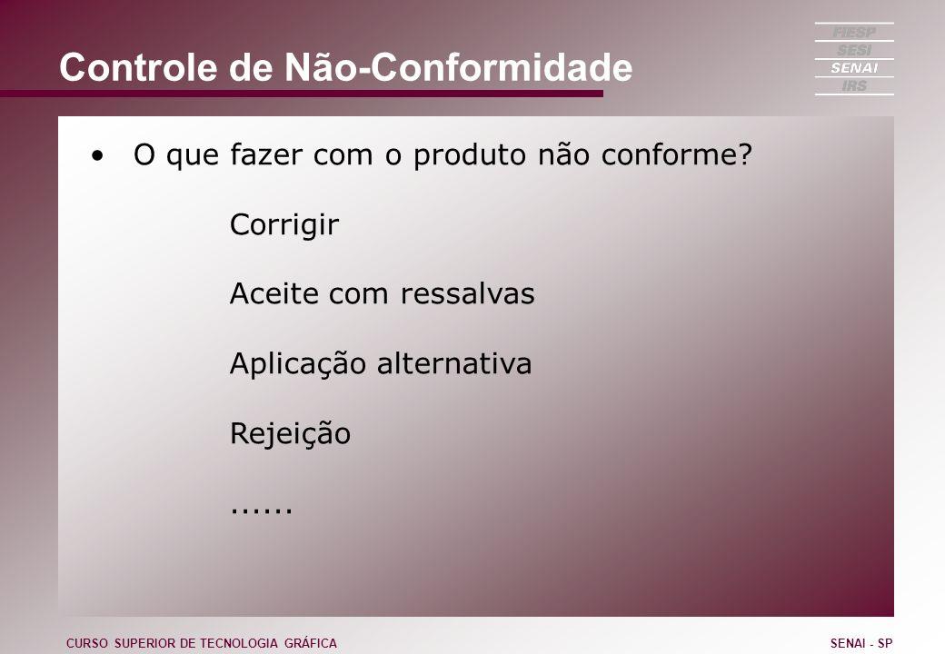 Controle de Não-Conformidade O que fazer com o produto não conforme? Corrigir Aceite com ressalvas Aplicação alternativa Rejeição...... CURSO SUPERIOR