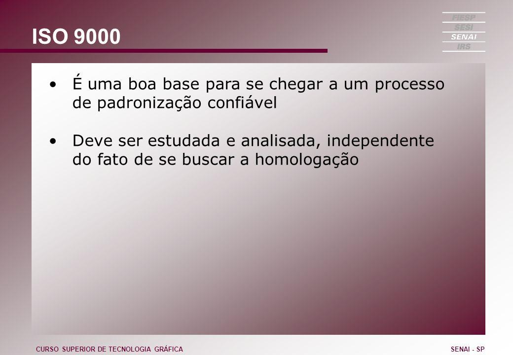 ISO 9000 É uma boa base para se chegar a um processo de padronização confiável Deve ser estudada e analisada, independente do fato de se buscar a homo