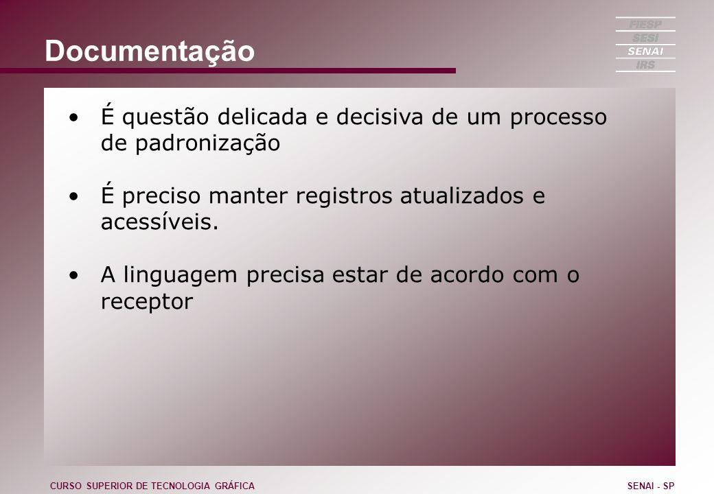 Documentação É questão delicada e decisiva de um processo de padronização É preciso manter registros atualizados e acessíveis. A linguagem precisa est