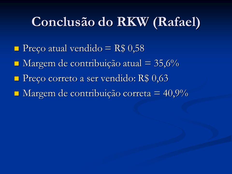 Conclusão do RKW (Rafael) Preço atual vendido = R$ 0,58 Preço atual vendido = R$ 0,58 Margem de contribuição atual = 35,6% Margem de contribuição atual = 35,6% Preço correto a ser vendido: R$ 0,63 Preço correto a ser vendido: R$ 0,63 Margem de contribuição correta = 40,9% Margem de contribuição correta = 40,9%