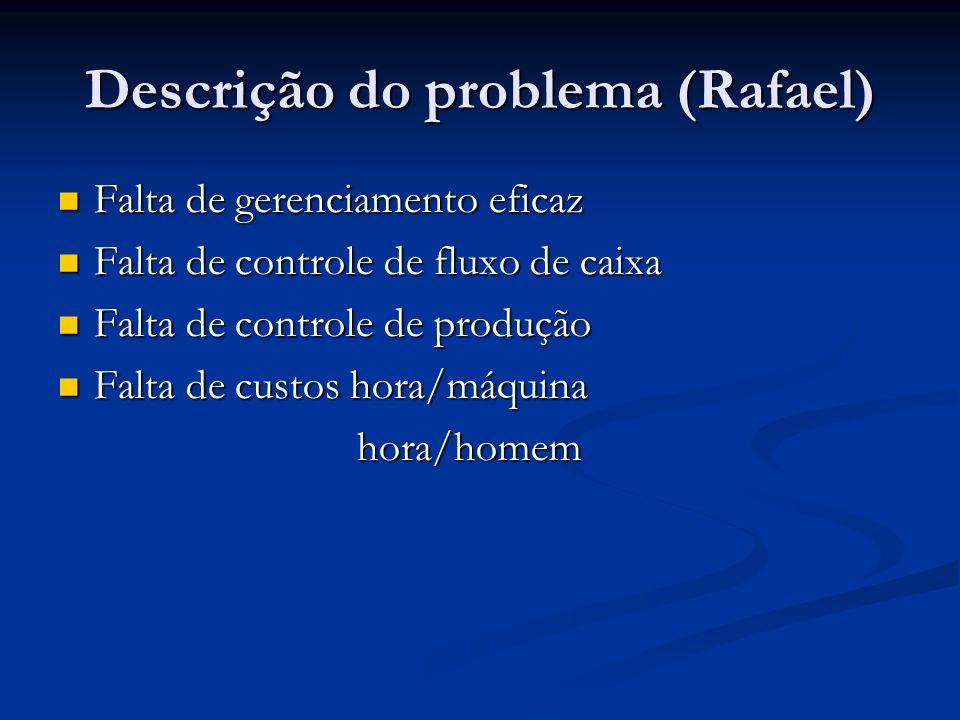 Descrição do problema (Rafael) Falta de gerenciamento eficaz Falta de gerenciamento eficaz Falta de controle de fluxo de caixa Falta de controle de fl