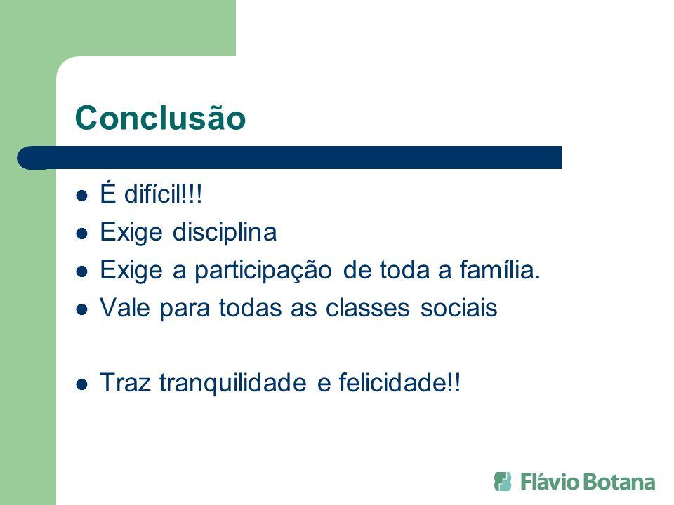 Conclusão É difícil!!! Exige disciplina Exige a participação de toda a família. Vale para todas as classes sociais Traz tranquilidade e felicidade!!