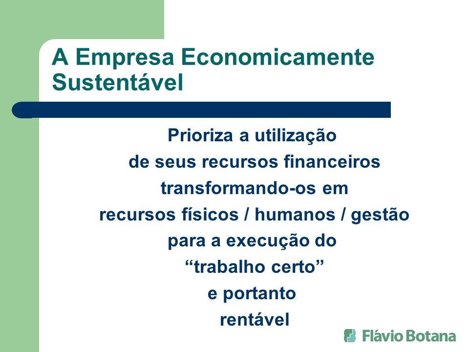 A Empresa Economicamente Sustentável Prioriza a utilização de seus recursos financeiros transformando-os em recursos físicos / humanos / gestão para a