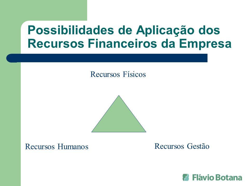 Possibilidades de Aplicação dos Recursos Financeiros da Empresa Recursos Físicos Recursos Gestão Recursos Humanos