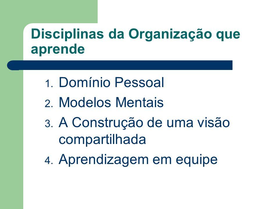 Disciplinas da Organização que aprende 1. Domínio Pessoal 2. Modelos Mentais 3. A Construção de uma visão compartilhada 4. Aprendizagem em equipe