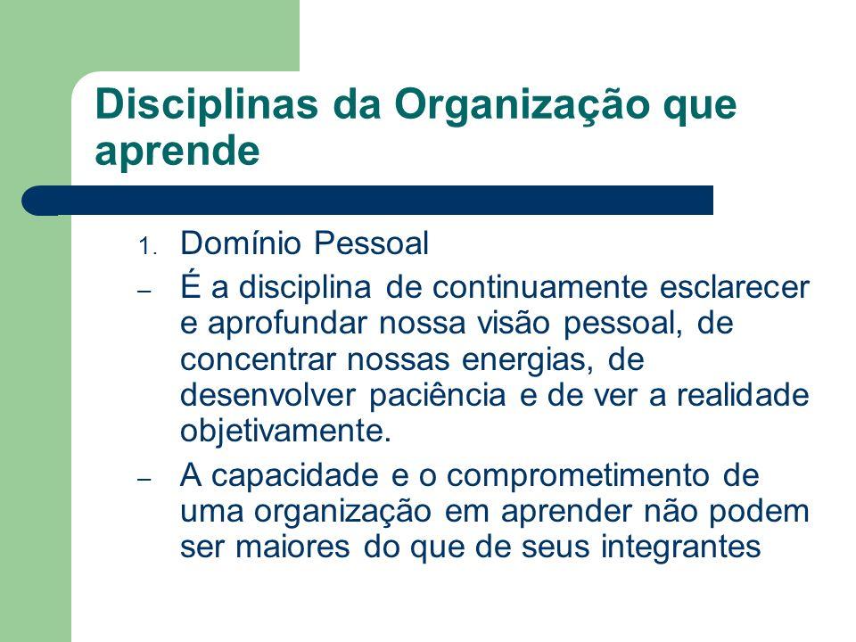 Disciplinas da Organização que aprende 1. Domínio Pessoal – É a disciplina de continuamente esclarecer e aprofundar nossa visão pessoal, de concentrar
