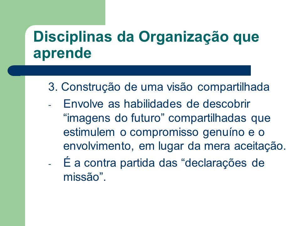 Disciplinas da Organização que aprende 3. Construção de uma visão compartilhada - Envolve as habilidades de descobrir imagens do futuro compartilhadas