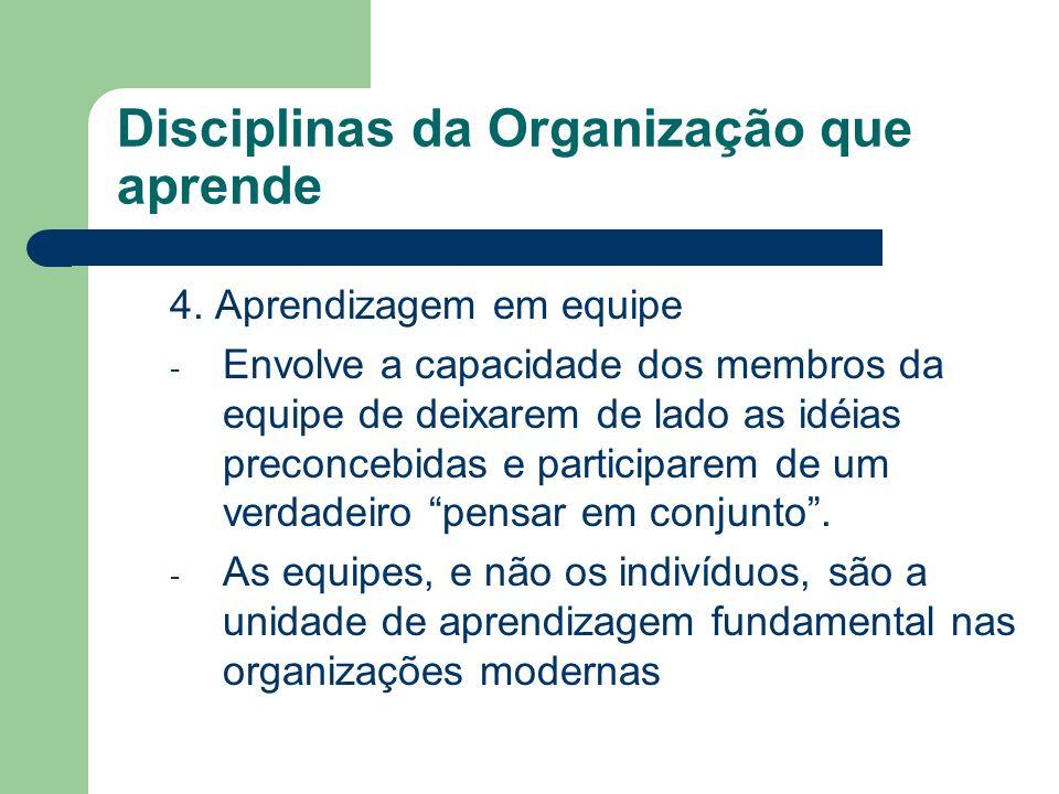 Disciplinas da Organização que aprende 4. Aprendizagem em equipe - Envolve a capacidade dos membros da equipe de deixarem de lado as idéias preconcebi