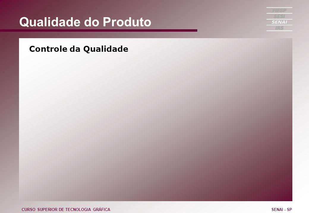 Qualidade do Produto Controle da Qualidade CURSO SUPERIOR DE TECNOLOGIA GRÁFICASENAI - SP