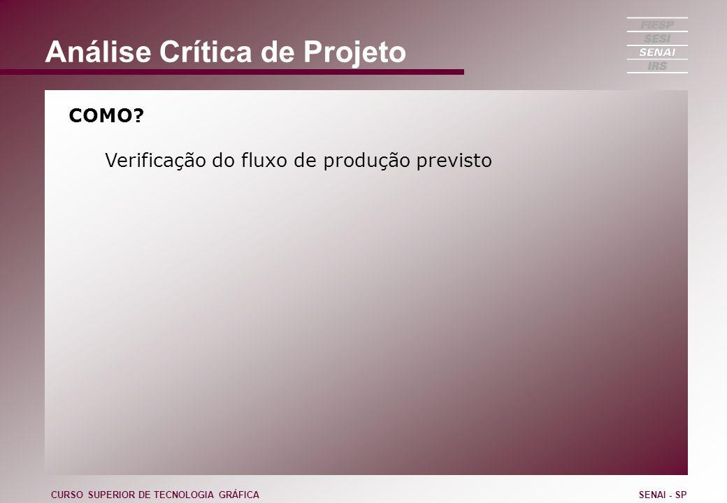 Análise Crítica de Projeto COMO? Verificação do fluxo de produção previsto CURSO SUPERIOR DE TECNOLOGIA GRÁFICASENAI - SP