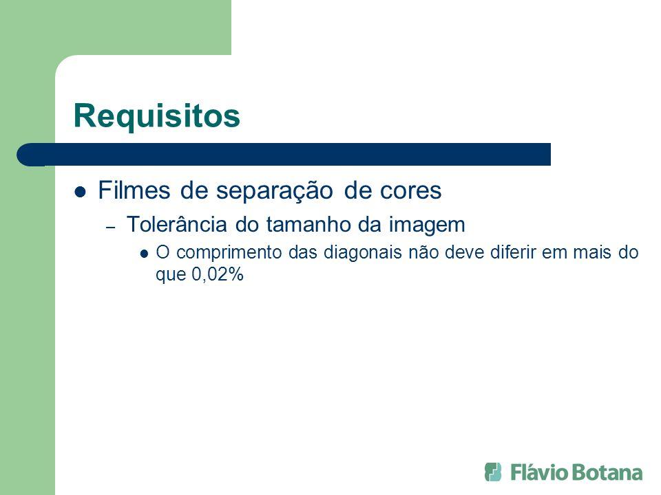 Requisitos Filmes de separação de cores – Tolerância do tamanho da imagem O comprimento das diagonais não deve diferir em mais do que 0,02%