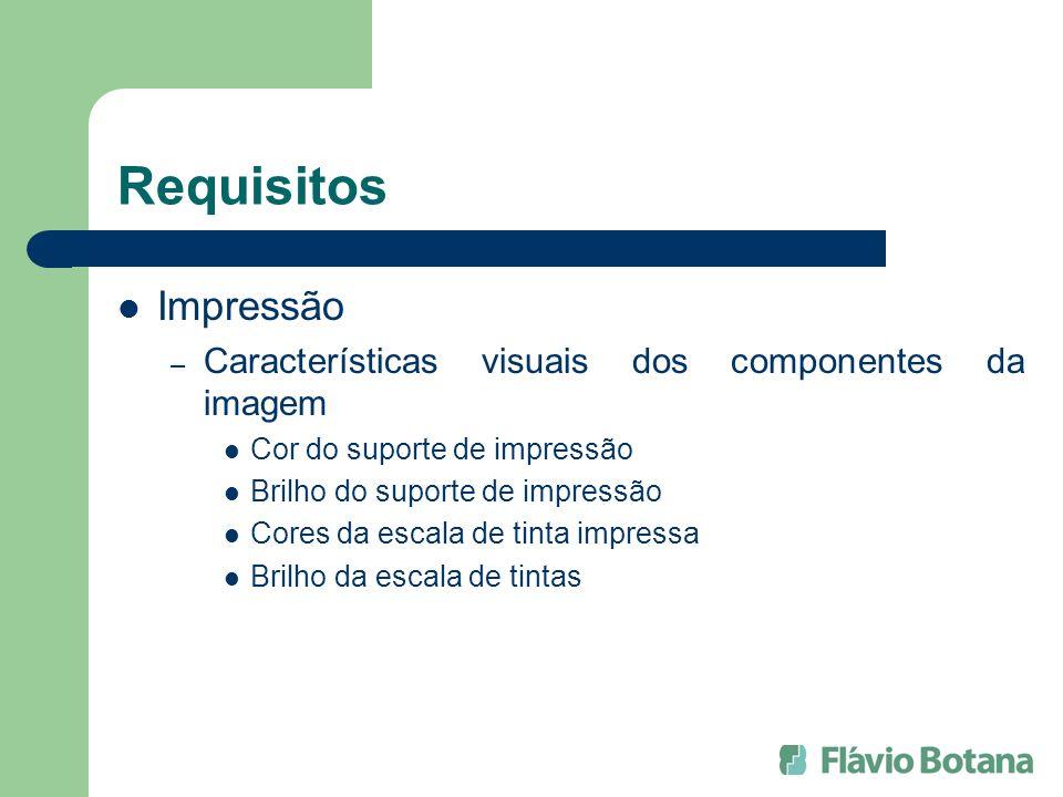 Requisitos Impressão – Características visuais dos componentes da imagem Cor do suporte de impressão Brilho do suporte de impressão Cores da escala de