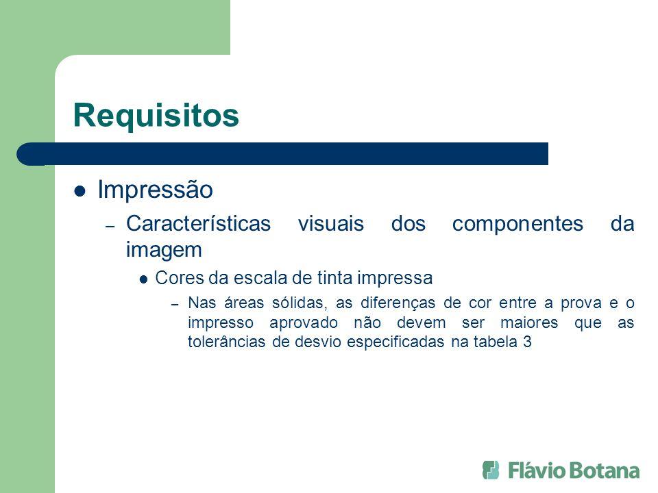 Requisitos Impressão – Características visuais dos componentes da imagem Cores da escala de tinta impressa – Nas áreas sólidas, as diferenças de cor e