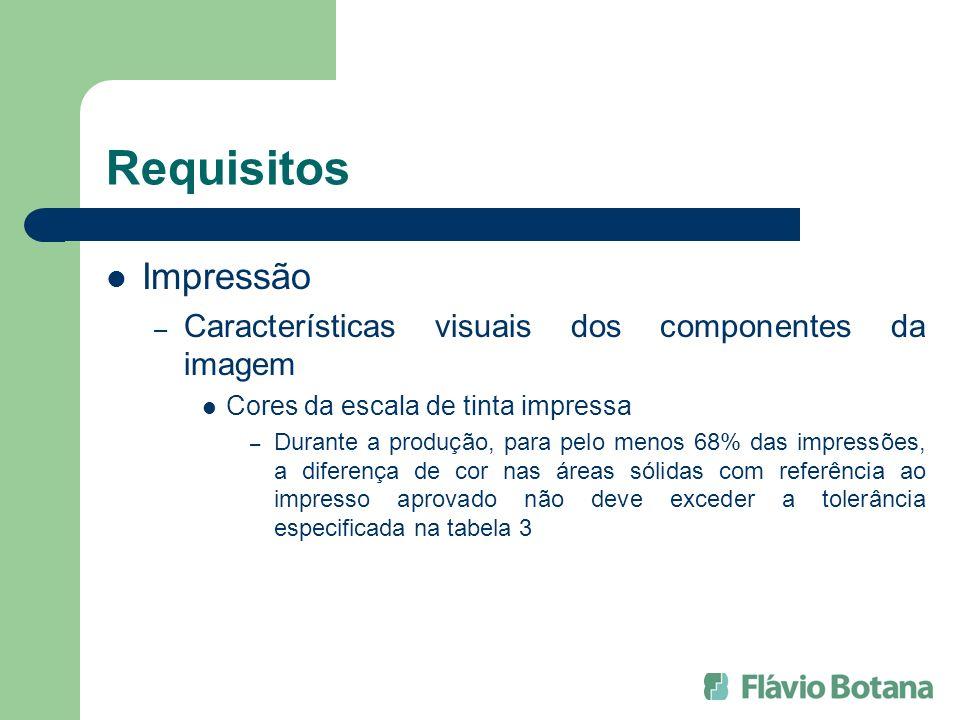 Requisitos Impressão – Características visuais dos componentes da imagem Cores da escala de tinta impressa – Durante a produção, para pelo menos 68% d