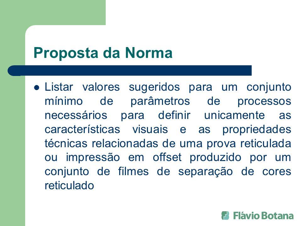 Proposta da Norma Listar valores sugeridos para um conjunto mínimo de parâmetros de processos necessários para definir unicamente as características v