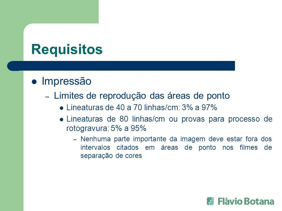 Requisitos Impressão – Limites de reprodução das áreas de ponto Lineaturas de 40 a 70 linhas/cm: 3% a 97% Lineaturas de 80 linhas/cm ou provas para pr