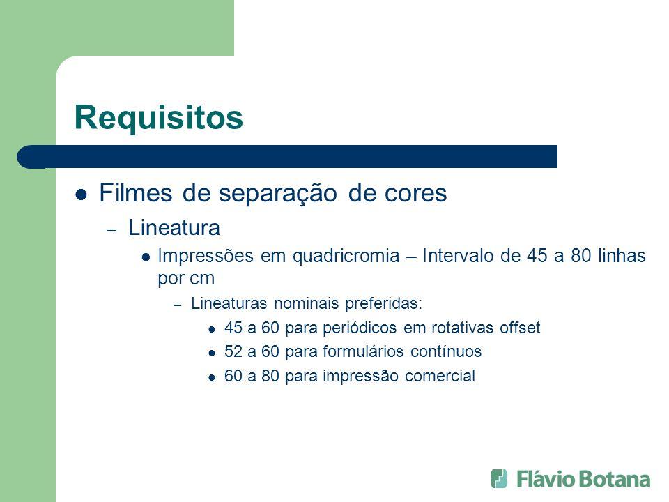 Requisitos Filmes de separação de cores – Ângulo de Retícula Ptos de retícula sem eixo principal – Separação de 30° p/ C,M,K e 15° p/ Y – Ângulo dominante: 45° Ptos de retícula com eixo principal – Separação de 60° p/ C,M,K e 15/ p/ Y – Ângulo dominante: 45° ou 135° – Estes valores se referem aos filmes