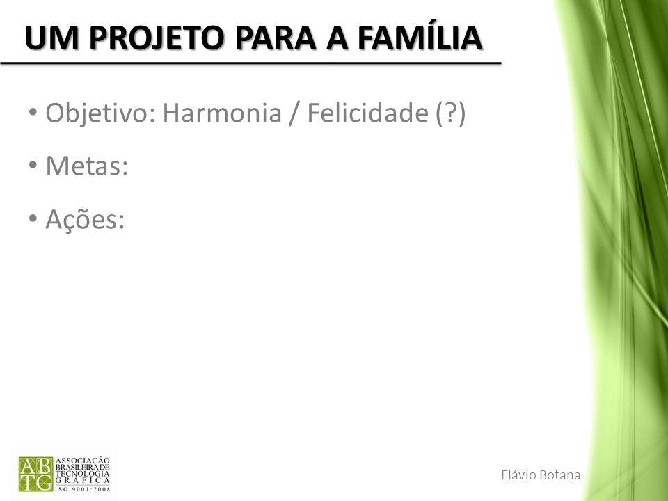 UM PROJETO PARA A FAMÍLIA Objetivo: Harmonia / Felicidade (?) Metas: Ações: Flávio Botana