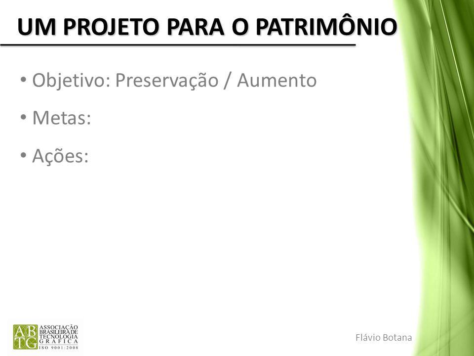 UM PROJETO PARA O PATRIMÔNIO Objetivo: Preservação / Aumento Metas: Ações: Flávio Botana
