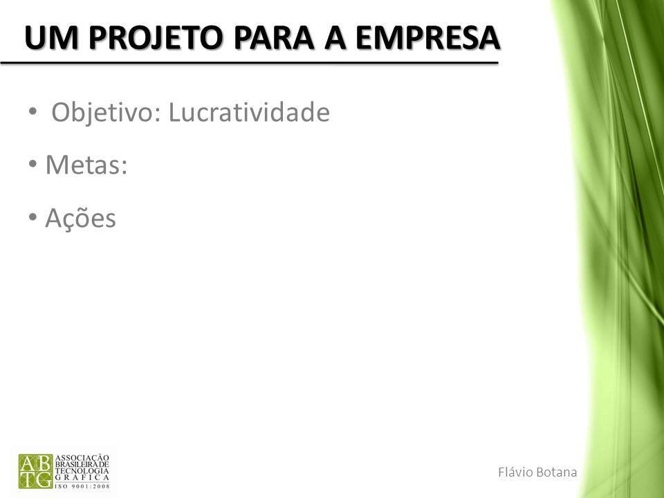 UM PROJETO PARA A EMPRESA Objetivo: Lucratividade Metas: Ações Flávio Botana