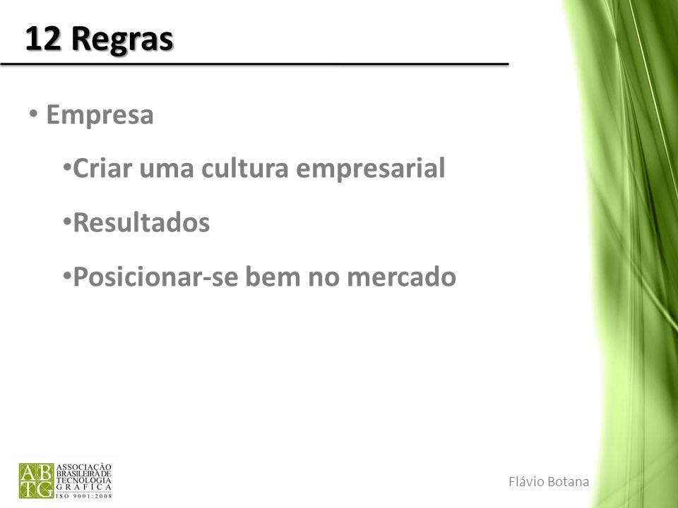 12 Regras Empresa Criar uma cultura empresarial Resultados Posicionar-se bem no mercado Flávio Botana