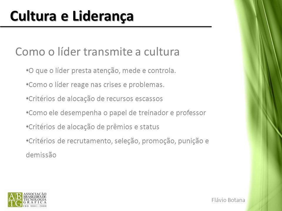 Cultura e Liderança Como o líder transmite a cultura O que o líder presta atenção, mede e controla. Como o líder reage nas crises e problemas. Critéri