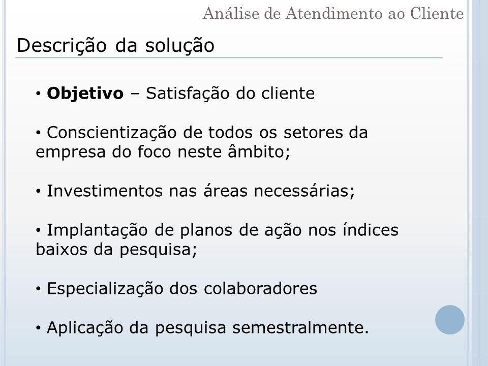 Descrição da solução Objetivo – Satisfação do cliente Conscientização de todos os setores da empresa do foco neste âmbito; Investimentos nas áreas nec
