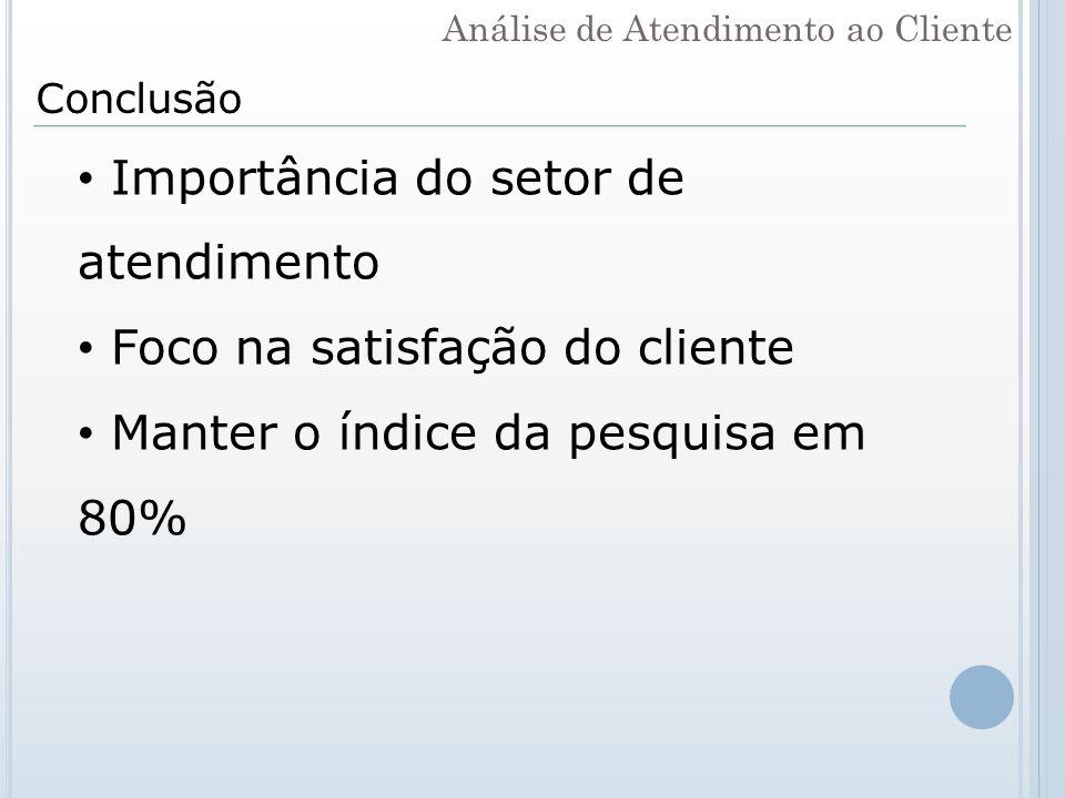 Conclusão Importância do setor de atendimento Foco na satisfação do cliente Manter o índice da pesquisa em 80% Análise de Atendimento ao Cliente
