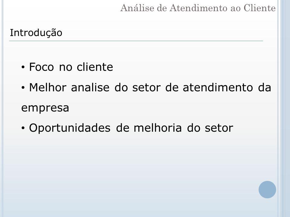 Introdução Foco no cliente Melhor analise do setor de atendimento da empresa Oportunidades de melhoria do setor Análise de Atendimento ao Cliente