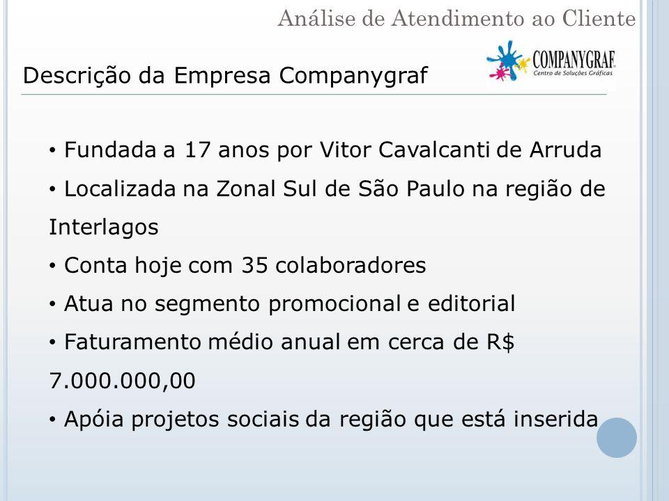 Descrição da Empresa Companygraf Fundada a 17 anos por Vitor Cavalcanti de Arruda Localizada na Zonal Sul de São Paulo na região de Interlagos Conta h